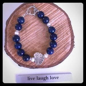 Jewelry - ❤️🆕Heart Bracelet with sodalite beads and pearls!